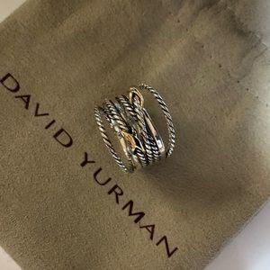 David yurman sterling&18k double x crossover ring